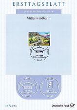 BRD 2012: Mittenwaldbahn 100 Jahre! Ersttagsblatt der Nr. 2951! 1605