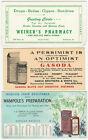 Three Pharmacy Medical Advertising Blotters - Digestion Tonic Pennsylvania Drugs