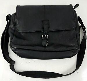 L.L. Bean Pebbled Leather Messenger Bag Briefcase Black MINT CONDITION!