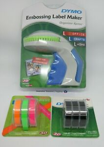 NEW COLOUR Dymo Xpress Embossing Label Maker express with + 3 NEON and 3 Black