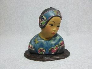 LOTUS BUD Antique ESTHER HUNT CHALKWARE Asian Lady Bust on Base SHARP COLORS
