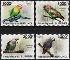 PARROTS & LOVEBIRDS (Cape/Grey/Meyer's/Fischer's) Bird Stamp Set (2011 Burundi)