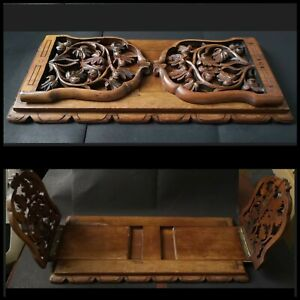 VTG Carved Wooden Book Slide Table Bookend Shelve Victorian Style Fretwork