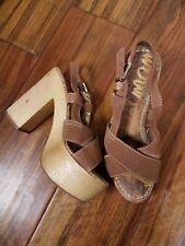eccf45dce179 Sam Edelman Womens 7.5 Mae Platform Sandal Heels Suede Leather Wood Brown  Shoes