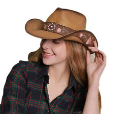 Unisex Retro Embroidery Western Cowgirl Straw Cap Summer Beach Cowboy Sun Hat