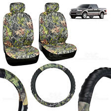 2 Front Low-Back Camo Seat Covers and PU Leather Steering Wheel Cover - 5pc Set