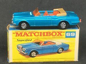 Matchbox MB69-A1 Superfast - Rolls Royce Silver Shadow (Blue) in Type F Box  Car