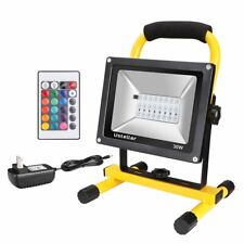 Rechargeable 30W RGB LED Flood Work Bright Light Outdoor Potable + Remote Cord