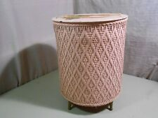 1950's Wicker Sewing Basket / Box Pink Floral Design Round / Legs / Carry & More