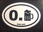 Beer Run Mile Oval Window Decal Sticker Car Round White Black Funny Marathon