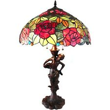 "Tiffany-Style 2-Light Floral Table Lamp Red Green Pink Stained Glass 27"" High"