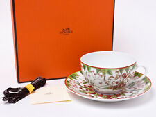 Hermes Porcelain Pythagore Morning Cup Saucer Tableware Botanical Auth New Rare