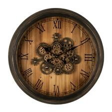 Vintage Wall Clock Industrial Oversized Wooden/Metal with Moving Gears Timer