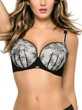 Ultimo Myriam Plunge Bra 359301 Lace Underwired Padded Fuller Bust - Black