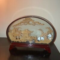 Vintage Hand Made Carved Cork Panda Oval Asian Diorama Lacquer Red