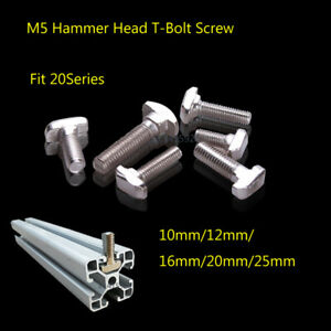 DIY M5 Hammer Head T-Bolt Screw For 20Series Aluminum T-slot 10mm 12mm16mm 25mm