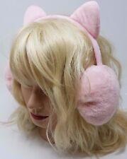 Minky Accessories Faux Fur Earwarmers with Cat Ears, Earmuffs, Light Pink