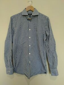 Hugo Boss Black Blue Check Cotton Long Sleeve Button Up Men's Shirt 15 1/2 34/35