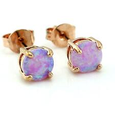 Pink Fire Opal 6MM Women Jewelry Rose Gold Plated Silver Stud Earrings OE209