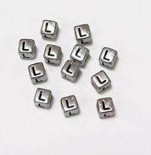"6mm Silver Metallic Alphabet Beads Black Letter ""L"" 100pc"