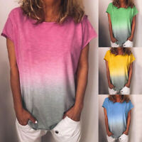 Women's Casual Gradient Color Short Sleeved T-Shirt Loose Summer Blouse Tops