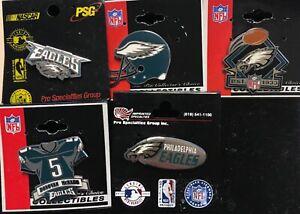 Set of 5 Philadelphia Eagles Logo NFL Licensed Collectors Pins BLOWOUT PRICE