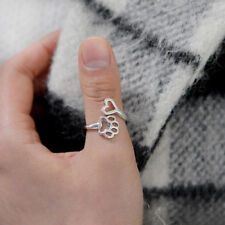 Silver Paw Print Love Heart Open Adjustable Ring Dog Cat Pet Animal Rings Gift