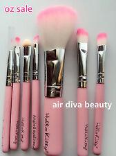 Women Hello Kitty Girl Pink Small Short Face Eye Lip Makeup Travel Brushes set