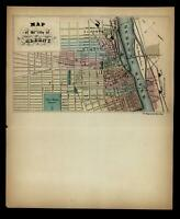 Albany New York city plan rare 1850 Magnus letter sheet hand colored map