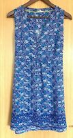 White Stuff Ladies Dress 8 Blue Patterned Sun Holiday Beach Cover Up Day Summer