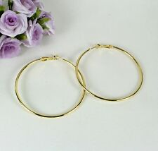 E17 Large 5.3 cm 18K Yellow Gold Filled Hoop Earrings - Gift Pouch