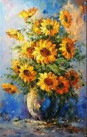 LMOP924 100% hand fascinating bunch of sunflowers oil painting on canvas art