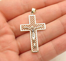 "1.5"" Filigree Cross Crucifix Charm Pendant Jesus Real 14K Yellow White Gold"