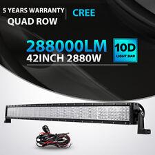 10D Quad-Row 2880W CREE 42Inch CURVED LED Light Bar Flood Spot Car Driving 40/44