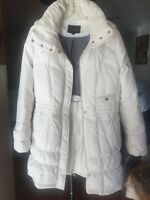 Cole Haan Womens White Quilted Down Coat w/ Detachable Hood - size M