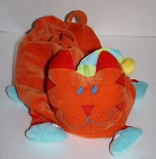 "Sassafras CAT 16"" Overnight Slumber Party Stuffed Soft Toy Tote Bag Orange Plush"