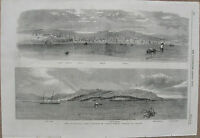 1859 Large Antique Engraving - CUBA - Two Panoramas of Havana, Town & Harbor -