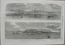 1859 Large Antique Engraving - CUBA - Two Panoramas of Havana, Town & Harbor -