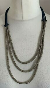 Accessorize Ladies Gold Tone & Blue Multi Strand Necklace