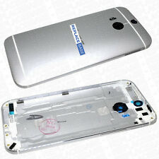 For HTC ONE M8 - Rear Metal Housing Cover Camera Lens Buttons Silver OEM