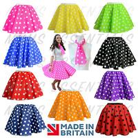 UK GIRLS LADIES Rock n Roll 1950s COSTUME Polka Dot Skirt FREE SCARF Fancy Dress