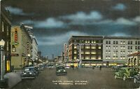 Linen Postcard WY H374 Capitol Avenue Cheyenne Night Shot Neon Signs Old Cars