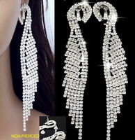 """#E121T 5"""" VERY LONG CLIP ON Earrings Wing Feather Crystal Pageant Queen Women"""