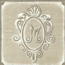 2 serviettes en papier Monogramme Decoupage Paper Napkins Monogram