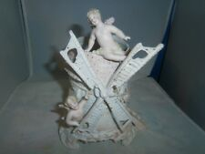 Antique German Porcelain Bisque Windmill & Cherub Vase