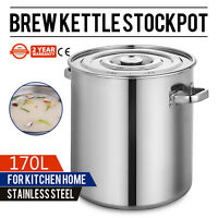 180 QT Stainless Steel Stock Pot Brewing Beer Kettle 170L Restaurant With Lid