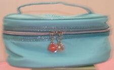 NEU LANCOME blau mit blau glänzenden Verkleidung Make Up Kosmetik Tasche Train Case Top Griff