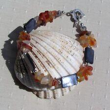 "Carnelian & Black Mother of Pearl Crystal Gemstone Bracelet ""Autumn Glow"""