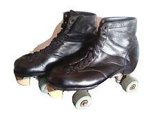 Vtg Black Leather Roller Skates Cleveland Model 150 Size 10 Green Cottrell Wheel