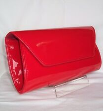 NEW WOMEN RED FAUX PATENT LEATHER CLUTCH SHOULDER PARTY EVENING BAG LADIES